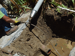 one of our plumbers is doing a trenchless sewer replacement in Oakland